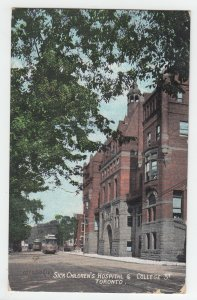 P2239 old stamped postcard childrens hospital & college street toronto canada