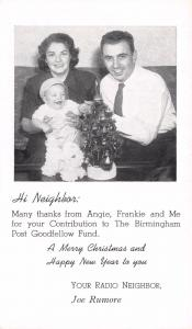 Birmingham AL Radio WAPI/WKOV Personality Goodfellow Christmas Thank You 1950s
