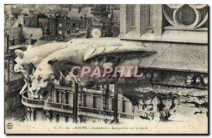 Old Postcard Rouen Cathedral Gargoyles on the facade