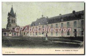 Postcard Old Bresles Le Chateau And I'Eglise