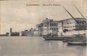 Egypt Alexandria Ras el Tin Palace Boats Bateaux Postcard