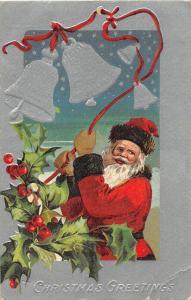 F61/ Santa Claus Merry Christmas Holiday Postcard c1911 Barberton Ohio Bells 16