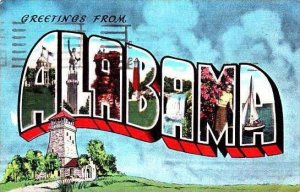 Alabama Greetings From Large Letter Linen