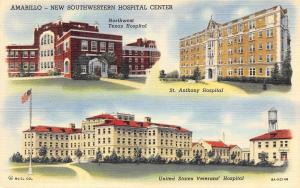 Amarillo Texas~Hospitals~Veterans~Northwest~St Anthony~1939 Linen Postcard