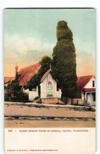 St Peter's Church, Tacoma - Oldest Church Tower in America, c1905 UDB Postcard
