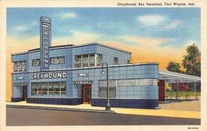 LP33   Fort Wayne Indiana Greyhound Bus Terminal Art Deco Vintage Postcard