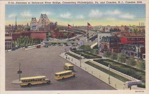 New Jersey Camden Entrance To Delaware River Bridge Connecting Philadelphia