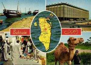 bahrain, Multiview, Government House, Street Scene, Map, Camel (1960s) Postcard