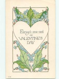 Pre-Linen Valentine FORGET-ME-NOT FLOWERS WITH HEART AB2955