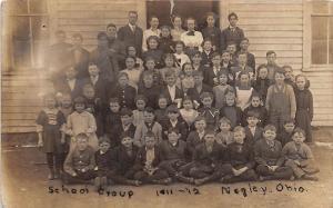 D21/ Negley Ohio Postcard Real Photo RPPC 1911-12 School Students Columbiana Co
