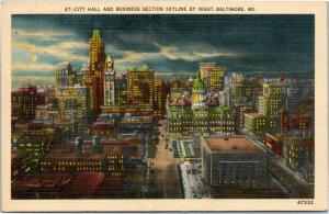 City Hall and Business Section Skyline By Night, Baltimore Maryland