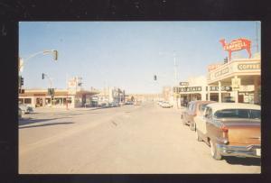 HOLBROOK ARIZONA ROUTE 66 DOWNTOWN STREET SCENE 1950's CARS VINTAGE POSTCARD
