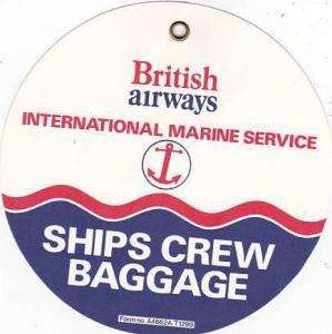 BRITISH AIRWAYS MARINE SERVICE SHIPS BAGGAGE CREW AVIATION BAGGAGE TAG