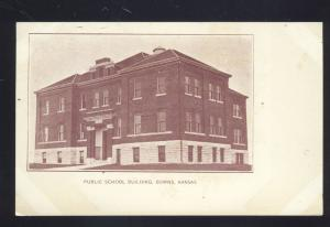 DOWNS KANSAS PUBLIC SCHOOL BUILDING ANTIQUE VINTAGE POSTCARD HOLTON KS.