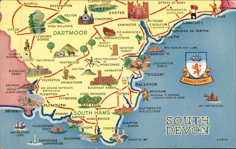 Map Of Uk Devon.South Devon Uk Map Postcard Hippostcard