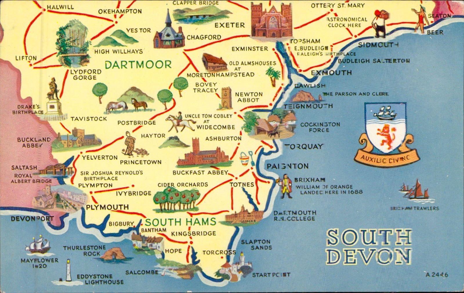 South Devon England Map.South Devon Uk Map Postcard Hippostcard