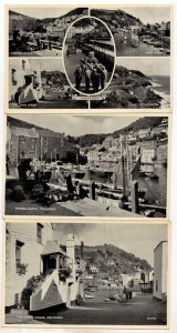 Jews House Fishing Boats Polperro Cornwall 3x RPC Postcard s