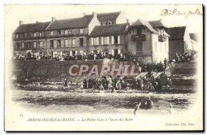 Old Postcard Arromanches Les Bains Little Cale At & # 39Heure Des Bains