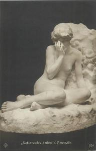 Büste Überraschte Bachantin Manneville sculpture early art postcard