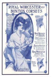 Vintage Reproduction Postcard, Royal Worcester and Bonton Corsets Advert #974