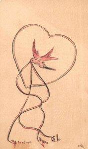 Romance Greetings Dove Hand Made Vintage Postcard AA8873