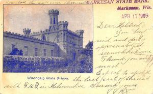 Waupun WI State Prison Markesan State Bank 1905 Postcard
