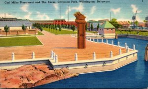 Delaware Wilmington Christina Park Carl Miles Monument and The Rocks 1946