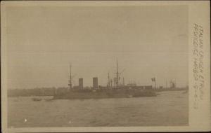 Italian Cruiser Naval Ship Etruria Providence RI Harbor 1909 Real Photo Postcard