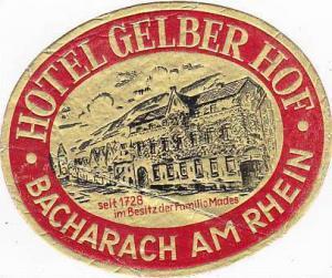 GERMANY BACHARACH HOTEL GELBER HOF VINTAGE LUGGAGE LABEL