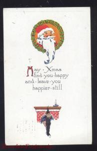HAPPY XMAS SANTA CLAUS IN WREATH ANTIQUE VINTAGE CHRISTMAS