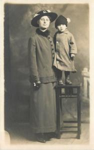 Ida w/Merry Widow Hat~Sharp Outfit~Little Child Winter Coat w/Hat Puff~RPPC 1918