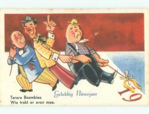 Unused Pre-Chrome new year foreign MEN PULLING ON LUCKY GOLD HORSESHOE J4230@