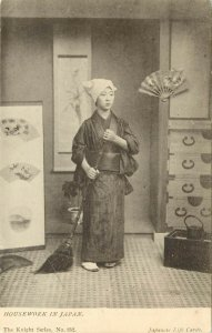 c1910 Lithograph Postcard; Housework in Japan, Sad Japanese Woman with Broom