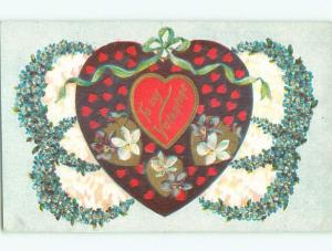 Pre-Linen valentine HEART WITH GREEN RIBBON AND FORGET-ME-NOT FLOWERS J0658