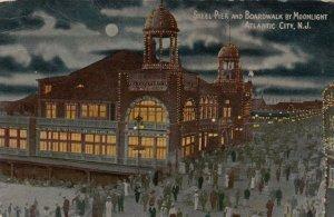 ATLANTIC CITY, New Jersey, 1916; Steel Pier and Boardwalk by Moonlight