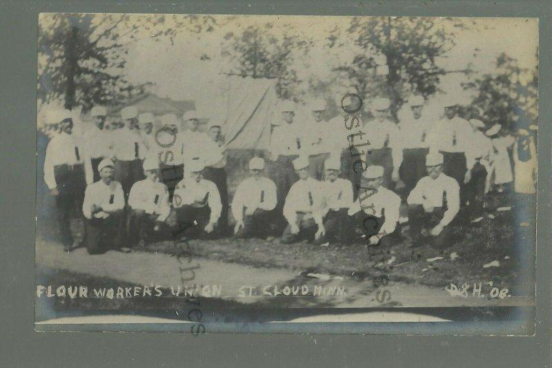 St. Cloud MINNESOTA RPPC 1908 FLOUR WORKERS' UNION Labor SOCIAL HISTORY