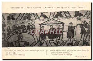 Tapissserie Queen Mathilde Bayeux Old Postcard William and his barons are sit...