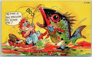 Phillips Wisconsin Linen RAY WALTERS Postcard Curteich Fish Comics C-706 Unused