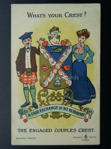 Scotland THE ENGAGED COUPLES CREST c1908 Comic Postcard by Reliable