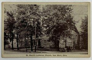 VTG Old Postcard St. Mark's Lutheran Church, Van Wert, Ohio