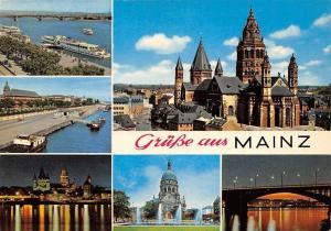 Gruesse aus Mainz Dom, Cathedral Fountain Bridge River Boats Pont Panorama