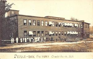 Charlestown NH Fiddle Box Factory Employees Horse & Wagon RPPC Postcard