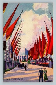 Chicago IL, International Exposition, Flags, Chrome Illinois Postcard