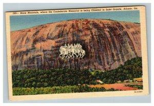 Vintage 1930's Curteich Postcard Stone Mountain Monument BEFORE IT WAS BUILT