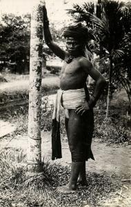 malay malaysia, BORNEO, Native Dayak Male (1920s) RPPC Postcard