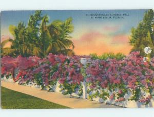 Linen FLOWER COVERED WALL Miami Beach Florida FL hn0112