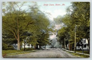 Dover Maine~Home w/Fancy Porch on Dirt St~Big Trunk Shade Tree~Early Fall~c1906