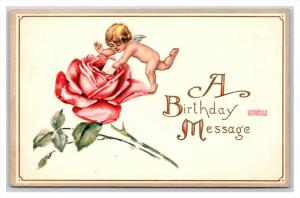 20643  BIRTHDAY  cupid leaving letter in rose