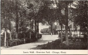Chicago Illinois~Riverview Park~Scenic Walk~Ice Cold Pop Stand~5c~1940s B&W PC