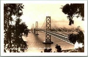 San Francisco-Oakland Bay Bridge RPPC Real Photo Postcard Aerial View 1930s